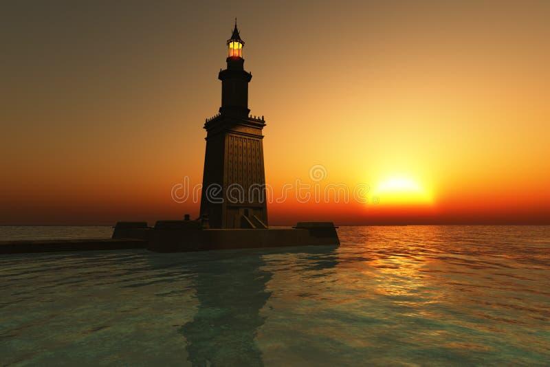 Phare de Pharos au coucher du soleil illustration libre de droits