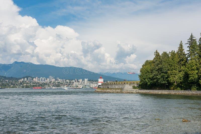 Phare de point de Brockton situé à Stanley Park Vancouver Brit photographie stock libre de droits