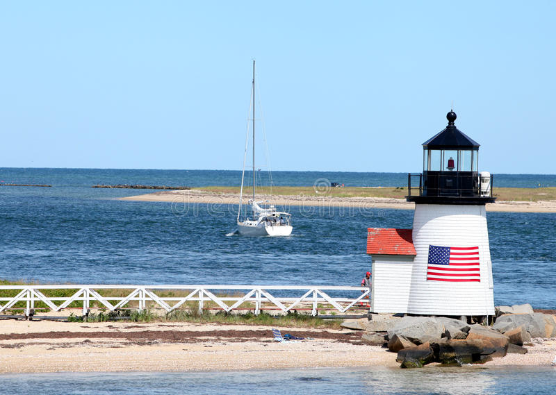 Phare de point de Brant, Nantucket, mA image libre de droits