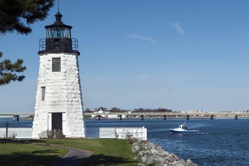 Phare de port de Newport dans Île de Rhode image libre de droits
