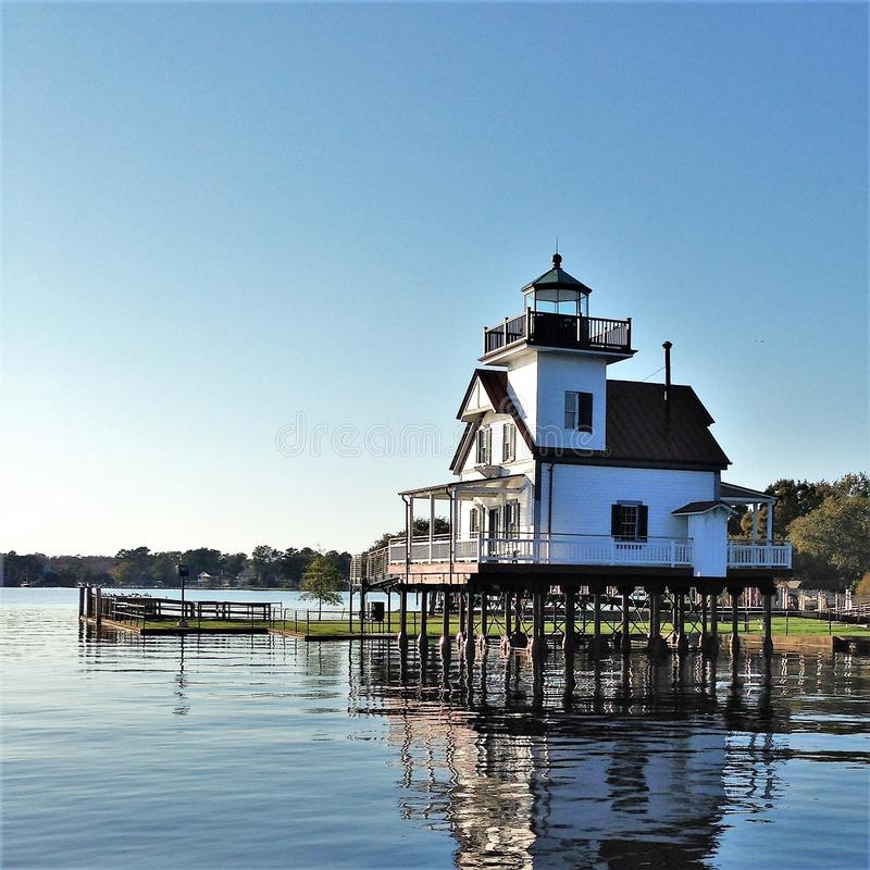 Phare 1886 de rivière de Roanoke sur le bruit d'Albemarle photos stock