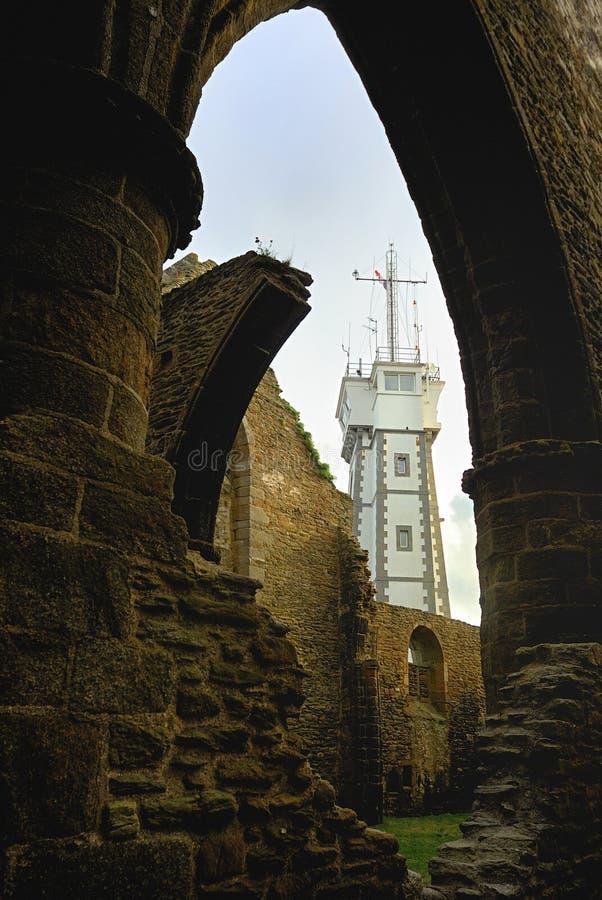 Phare de Saint Mateo, Plougonvelin, Finistere, Bretaña, Francia imagenes de archivo