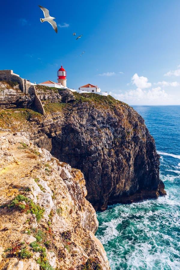 Phare de sao Vicente, Sagres, Portugal de Cabo Farol font le sao Vicente de Cabo a construit en octobre 1851 Cabo de Sao Vicente  photos stock