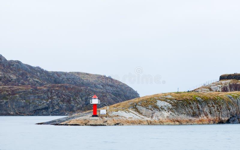 Phare de SW Point à Bodo Harbour, Norvège photo stock