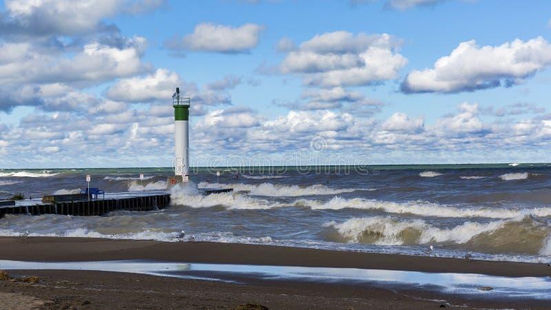 Phare du lac Huron - courbure grande, Ontario images stock