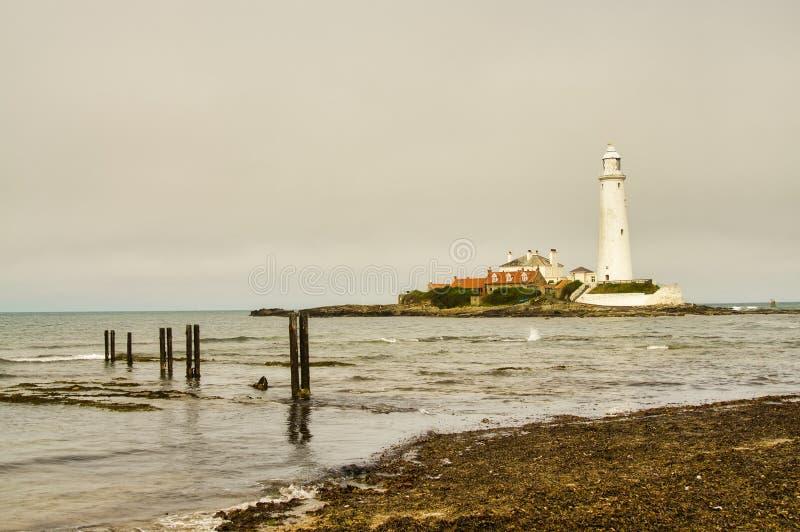 Phare du ` s de St Mary et île de ` s de St Mary, Tyne and Wear photo libre de droits