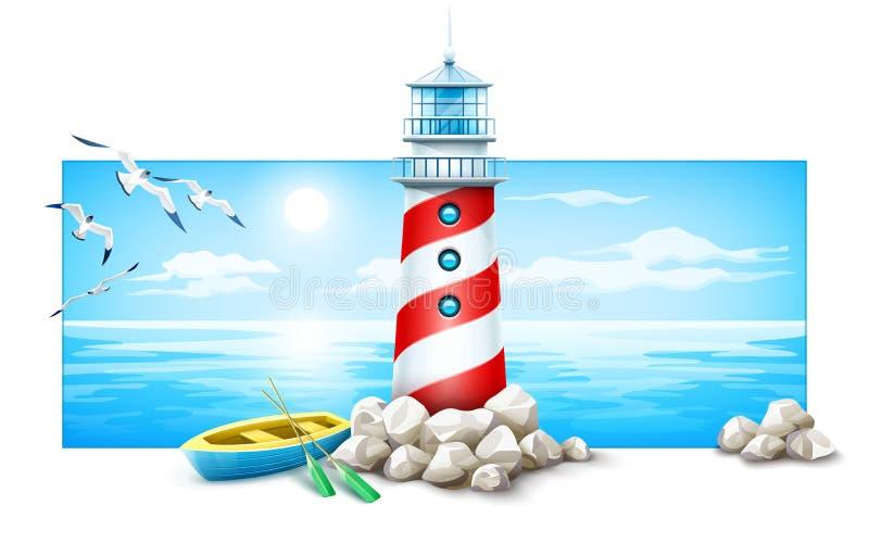 Phare et bateau à l'île de pierres Coucher du soleil de mer illustration stock