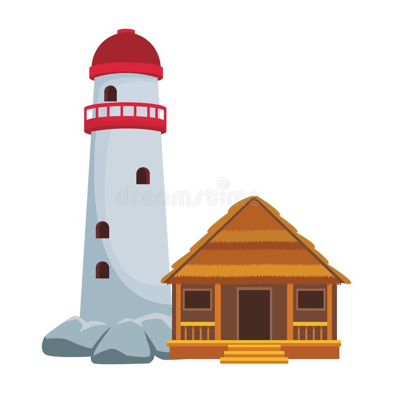 Phare et cottage illustration libre de droits