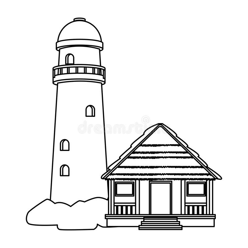 Phare et cottage illustration stock