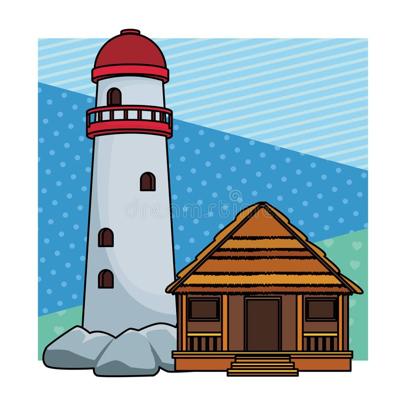 Phare et cottage illustration de vecteur