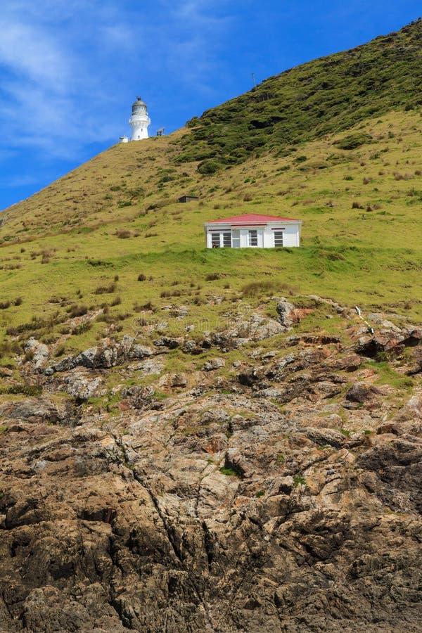 Phare et hutte au-dessus des falaises pures, cap Brett, Nouvelle-Zélande photo libre de droits
