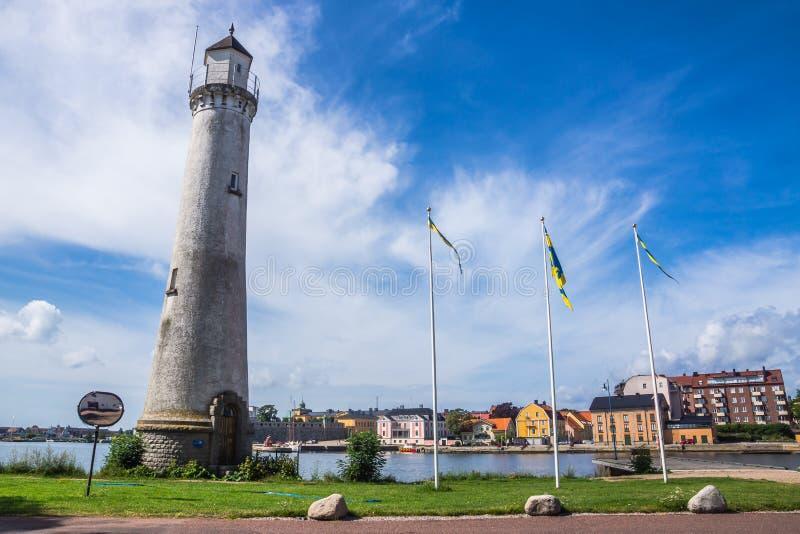 Phare et paysage urbain de Karlskrona photographie stock libre de droits