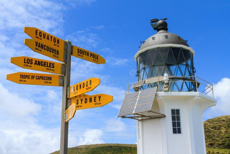 Phare et poteau indicateur au cap Reinga, Nouvelle-Zélande photographie stock