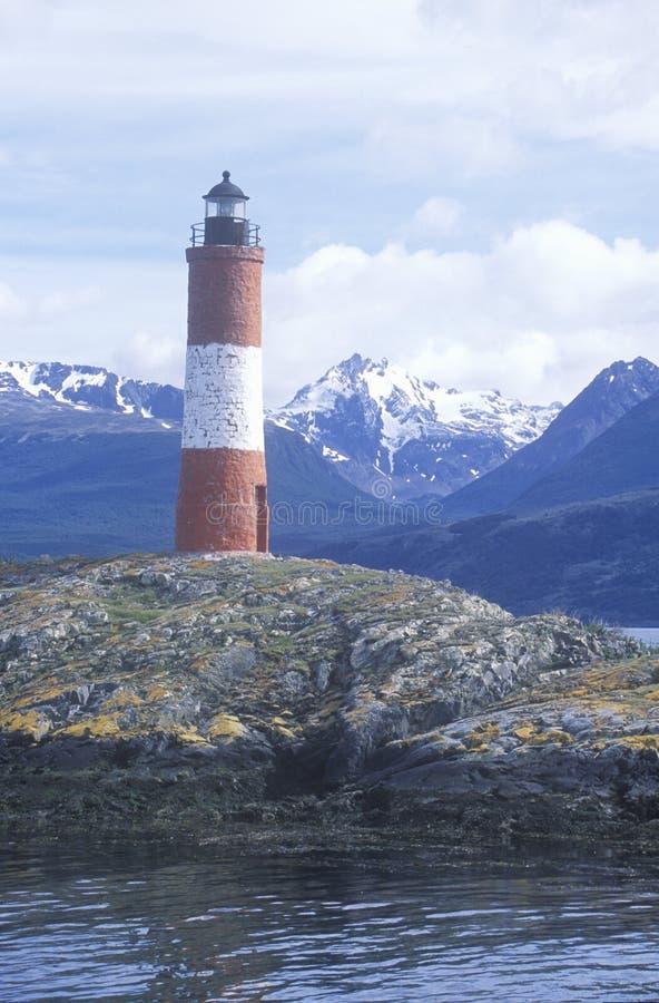 Phare historique de Les Euclaires aux îles de ponts et à la Manche de briquet, Ushuaia, Argentine image libre de droits