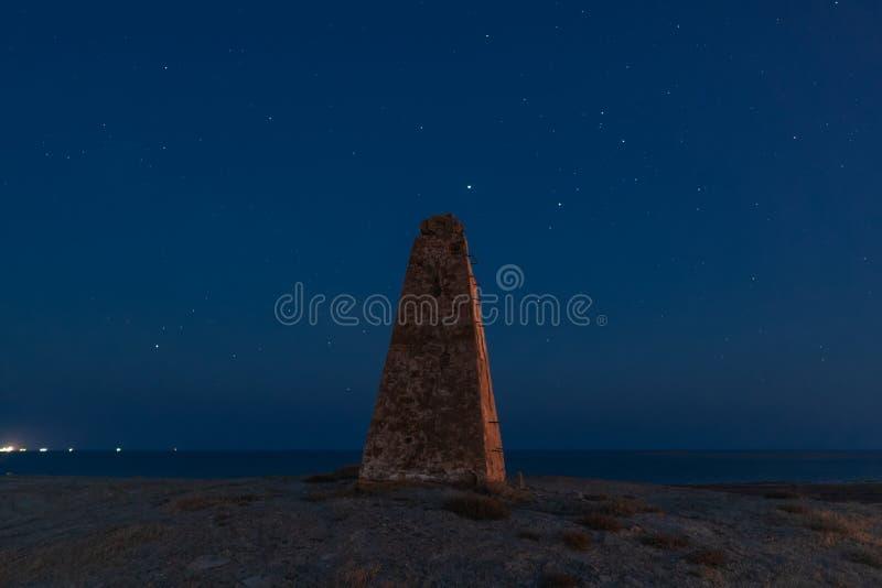 Phare isolé et la manière laiteuse dans le ciel étoilé de nuit images stock