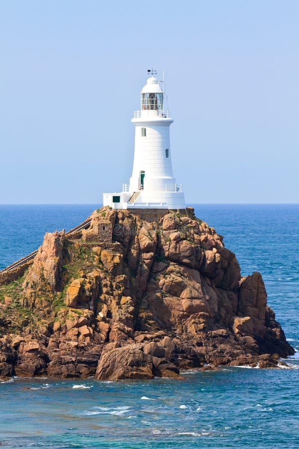 Phare Jersey, îles de Corbiere de la Manche photo stock