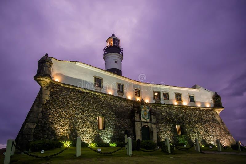 Phare la nuit, Salvador, Bahia, Brésil photo stock