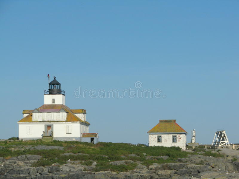 Phare Maine, Etats-Unis de roche d'oeufs images libres de droits