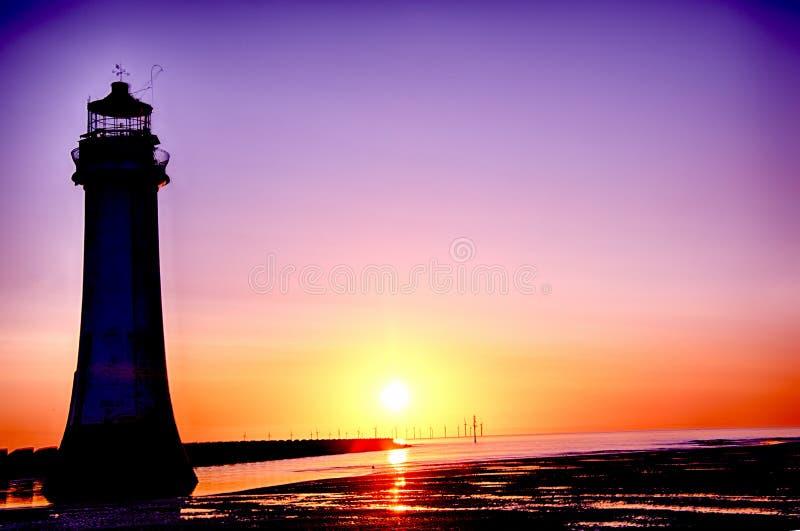 Phare nouveau Brighton Wirral England R-U de roche de perche image libre de droits
