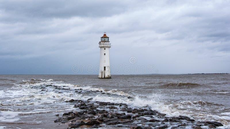 Phare nouveau Brighton Wirral England R-U de roche de perche photos libres de droits