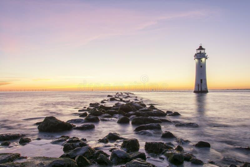 Phare nouveau Brighton Wirral England R-U de roche de perche photo libre de droits