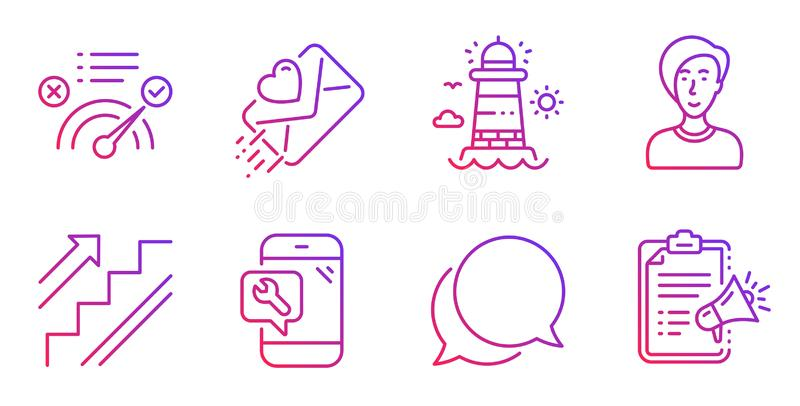 Phare, réponse correcte et ensemble d'icônes de personne de femme d'affaires Vecteur illustration stock