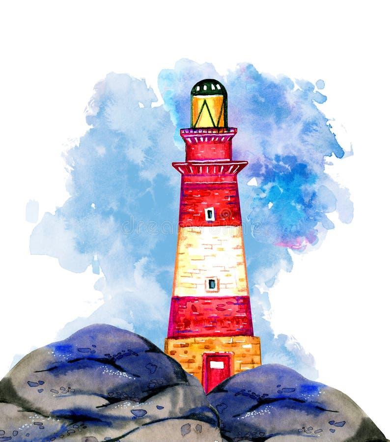 Phare rayé rouge de bande dessinée sur la côte en pierre avec le nuage sur le fond Illustration tirée par la main d'aquarelle illustration de vecteur