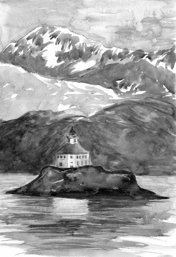 Phare sur l'île Montagnes et collines sur le fond Peinture d'aquarelle Grisaille gris de couleurs Illustration tirée par la main  images stock