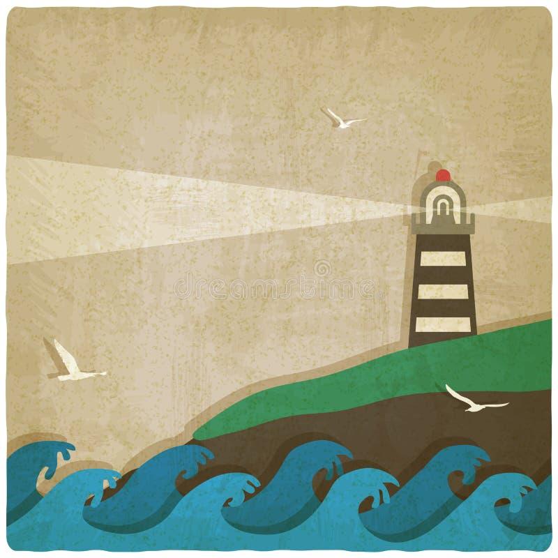 Phare sur la falaise par le vieux fond de mer illustration libre de droits