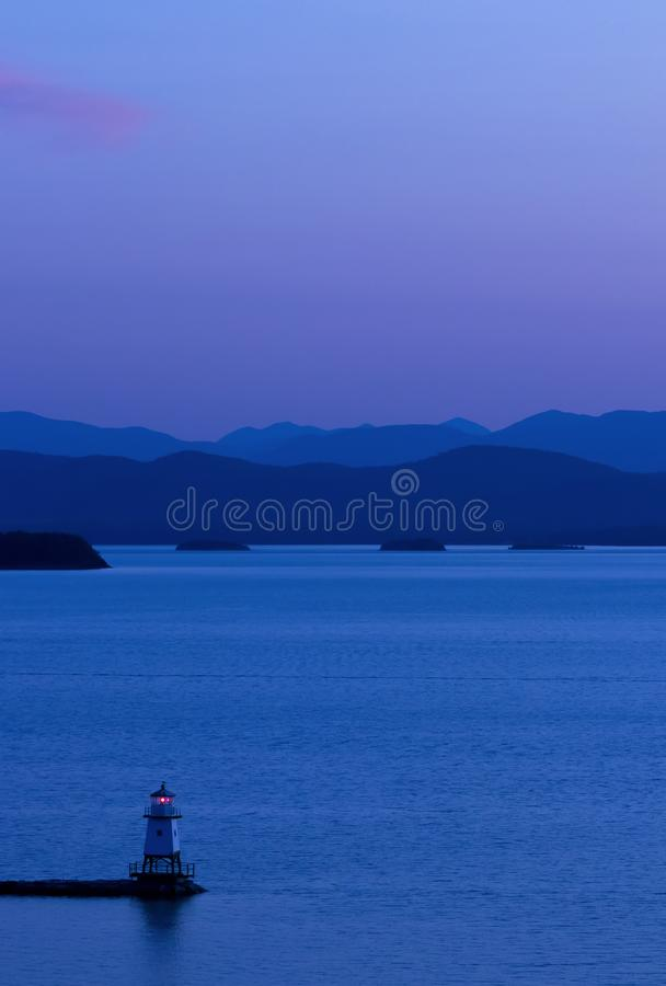 Phare sur le lac Champlain dans le Vermont de Burlington, États-Unis photos stock