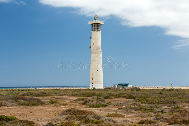 Phare sur Playa del Matorral, Jandia Morro Jable, Fuerteventura images libres de droits