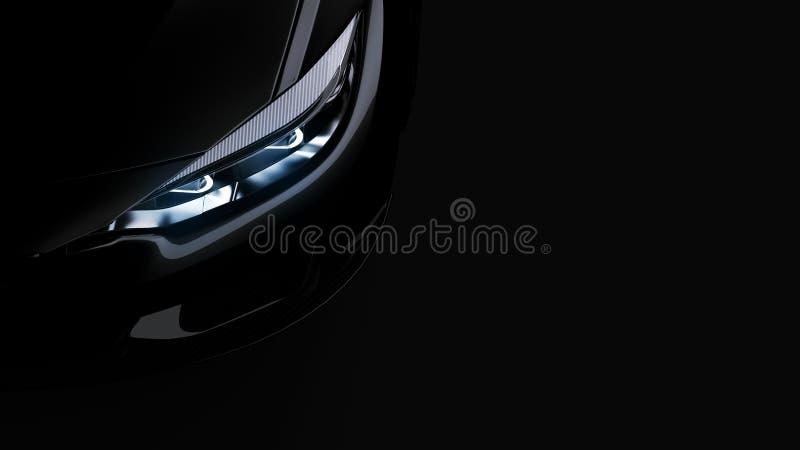 Phares de voiture de sport noire sur le noir illustration libre de droits