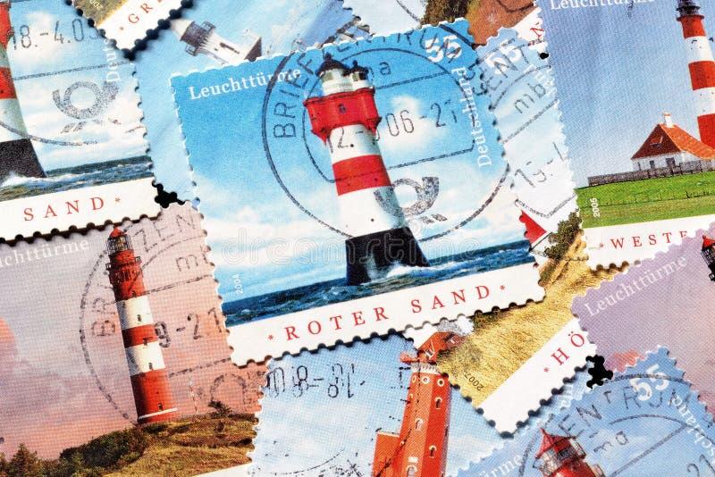 Phares sur des timbres image libre de droits