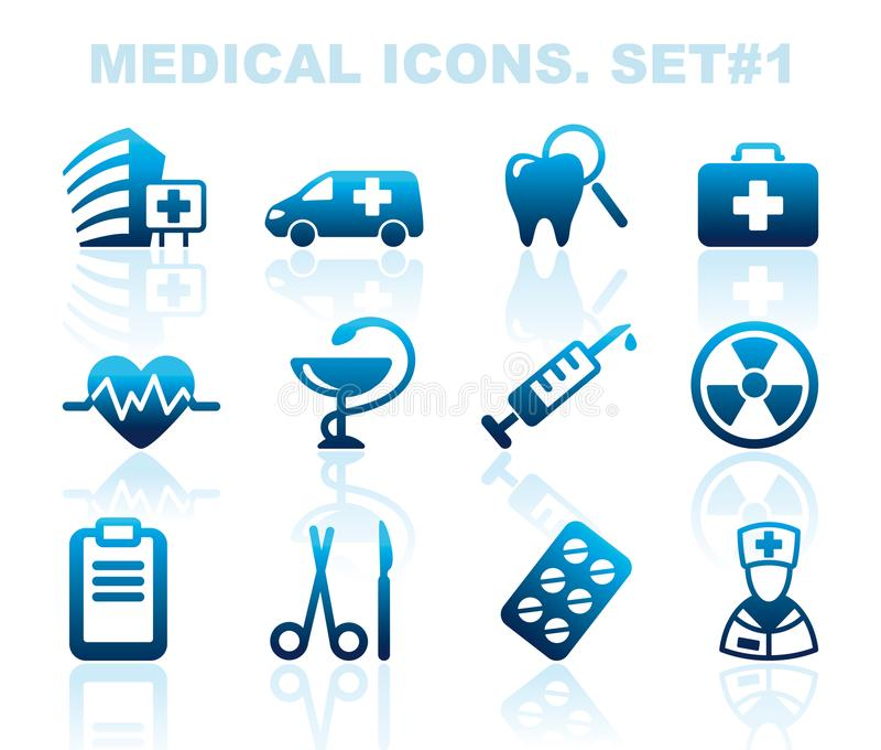 Pharma i Opiek zdrowotnych ikony ilustracja wektor