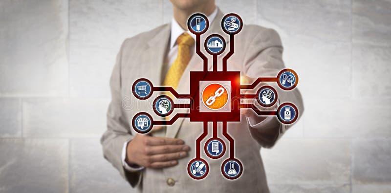 Pharma kierownik Aktywuje Blockchain W cyberprzestrzeni obraz stock