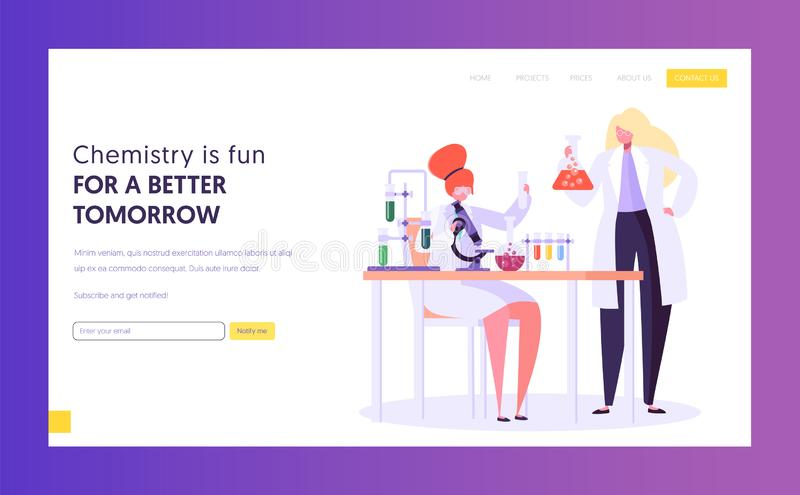 Pharmaceutic Education and Research Concept Landing Page. Scientist Male Character in Glasses at Chemistry Lab. Biotechnology. Experiment Website or Web Page stock illustration