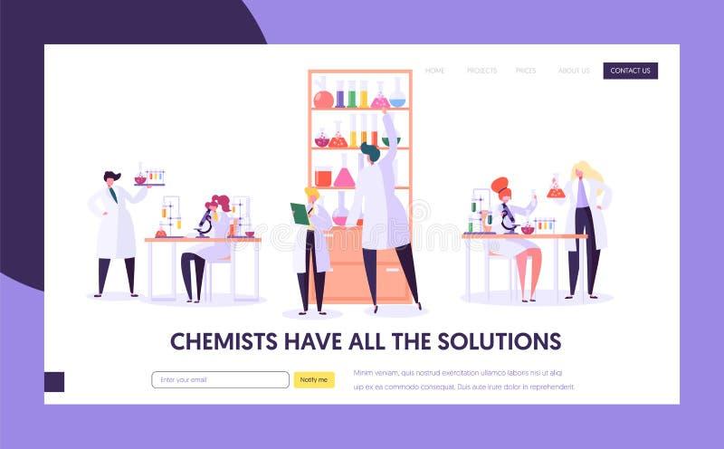 Pharmaceutic sida för landning för labbforskningbegrepp Doktor Man Character och kvinnaassistent i medicinsk likformig mikroskop royaltyfri illustrationer