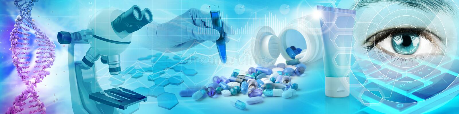 Pharmaceutical and biochemistry research concept. Background 3d illustration stock illustration