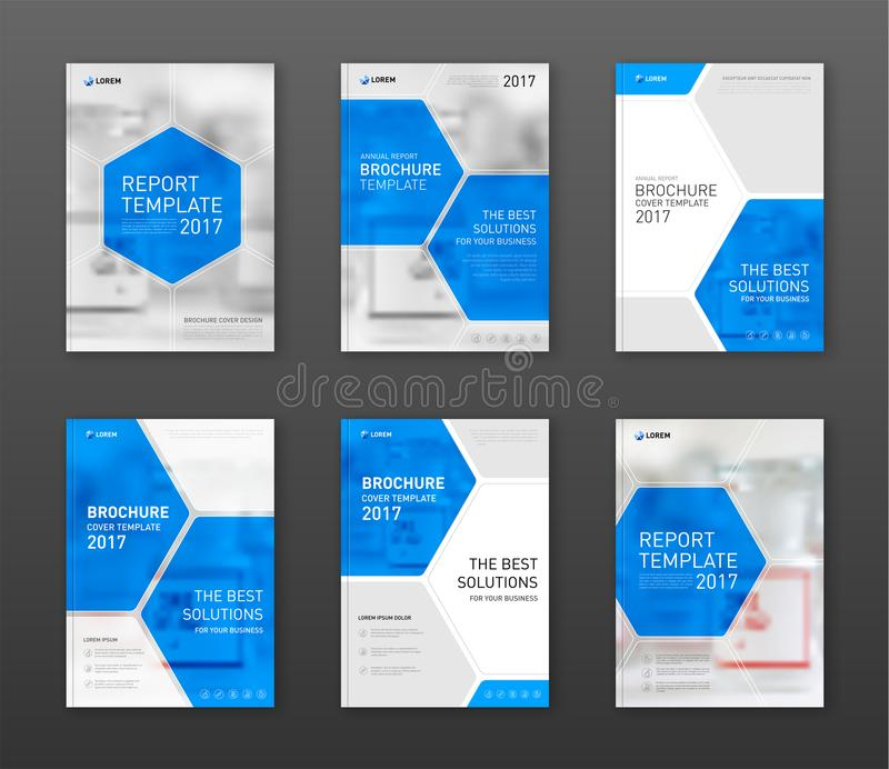 Pharmaceutical Brochure Cover Templates Set Stock Vector