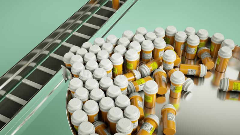 Pharmaceutical business manufacturing pills and drugs. Medicine and pharmacy custom render and caption with custom type and letters vector illustration