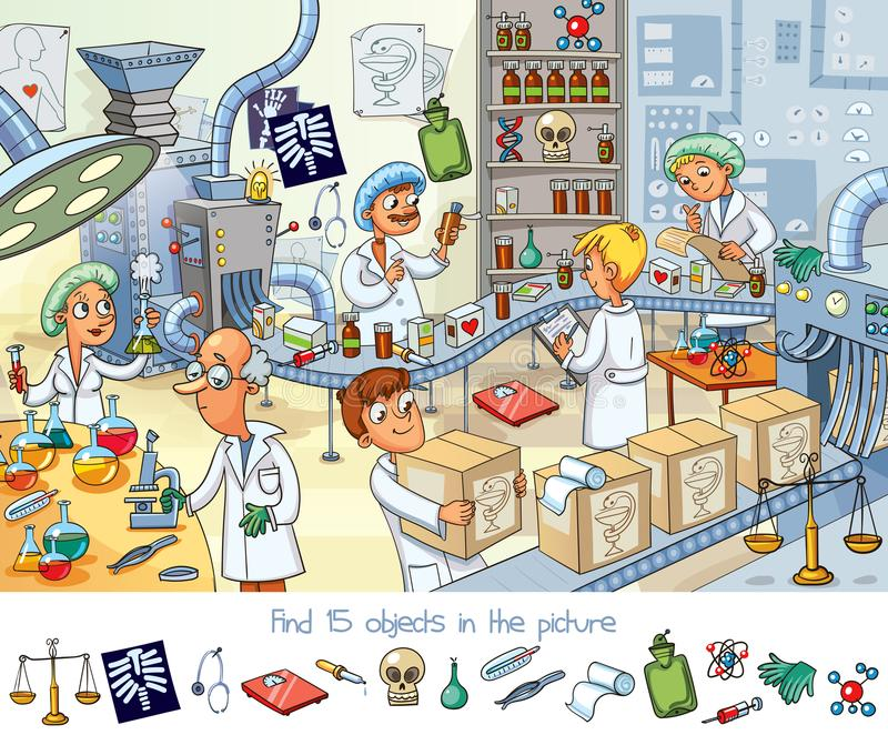 Pharmaceutical factory. Find 15 objects in the picture. Funny cartoon character. Vector illustration vector illustration