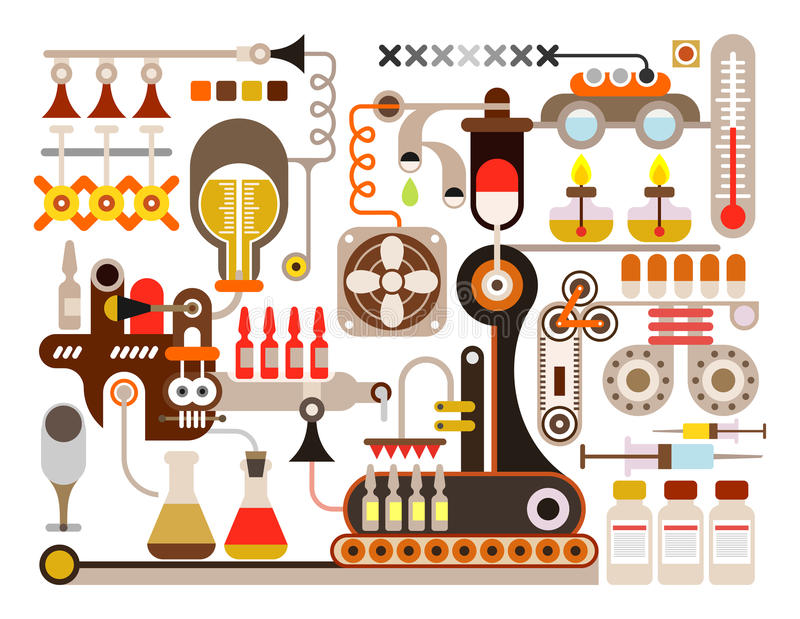 Pharmaceutical factory, medical laboratory stock illustration