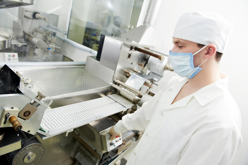 Pharmaceutical factory worker royalty free stock photos