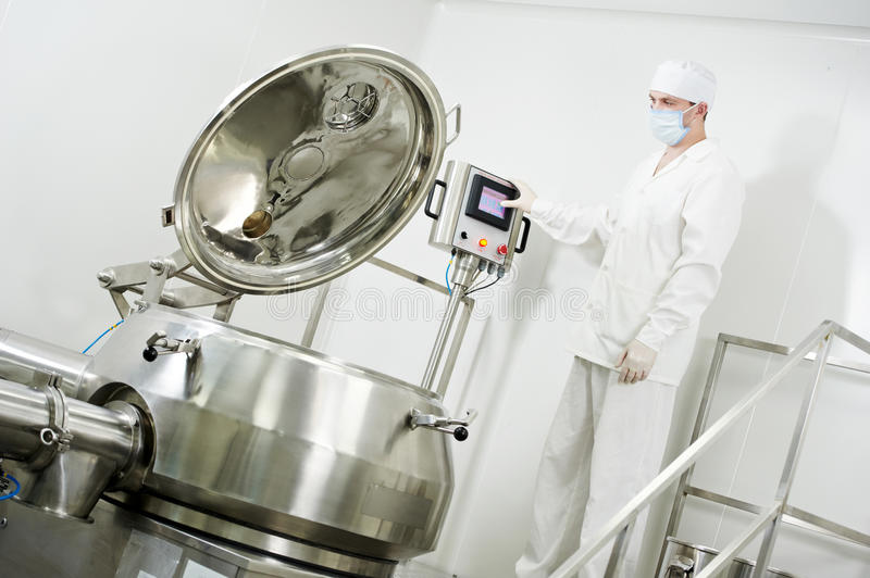 Pharmaceutical factory worker royalty free stock photo