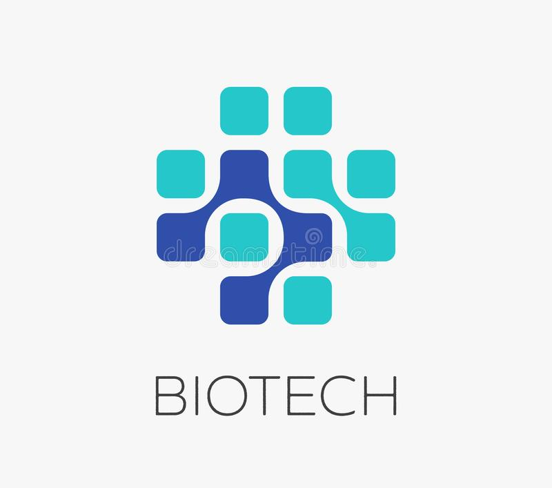 Pharmaceutical, healthcare and medical concept logo, symbol. Pharmaceutical technology, biotechnology, healthcare and medical concept logo, symbol royalty free illustration