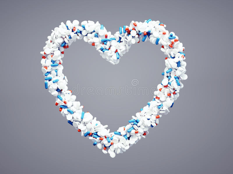 Pharmaceutical heart icon. 3d pharmaceutical heart icon with included clipping path. Isolated png file attached royalty free illustration