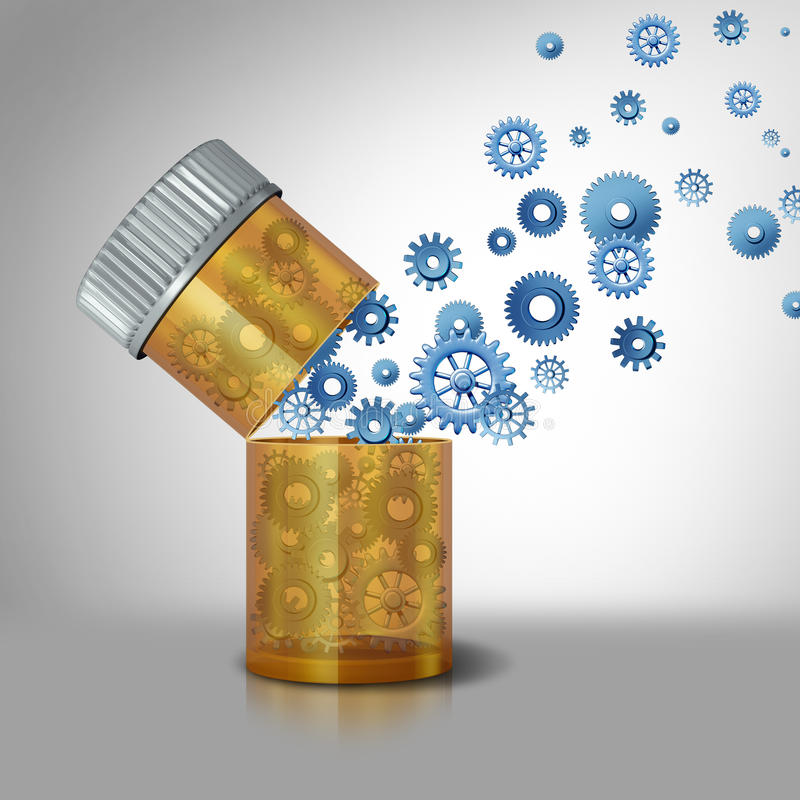 Pharmaceutical industry. Concept and prescription drugs business symbol as an open pill bottle with gears and cog wheels flowing out as a metaphor for royalty free illustration