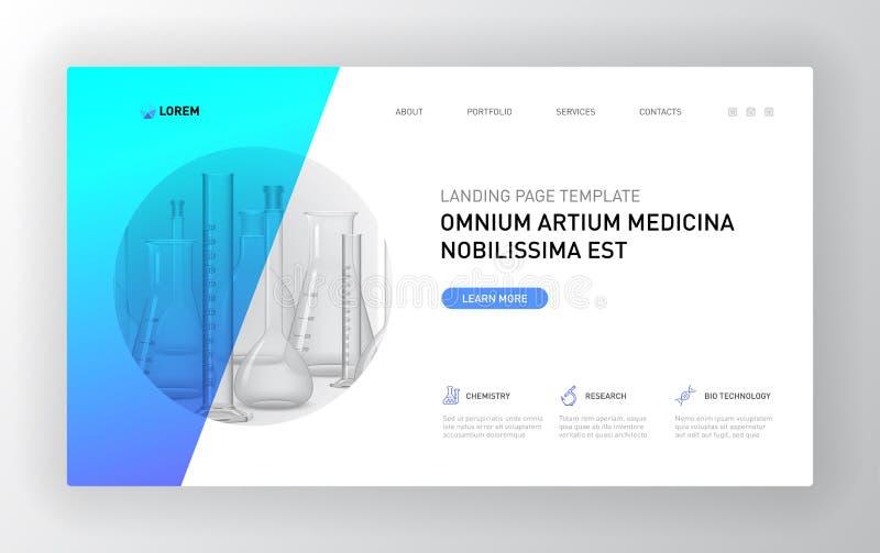 Pharmaceutical Landing page template. Modern web page design concept layout for website. Vector illustration. Brochure cover, web banner, website slide royalty free illustration