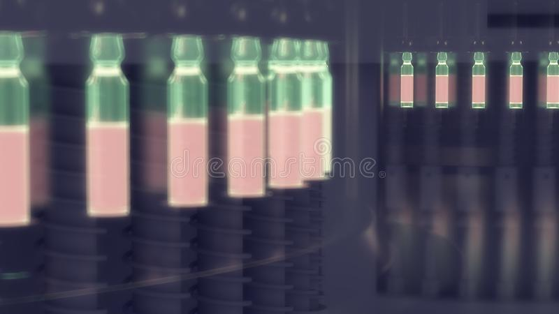 Pharmaceutical manufacturing line at pharmacy factory. 3d illustration royalty free illustration