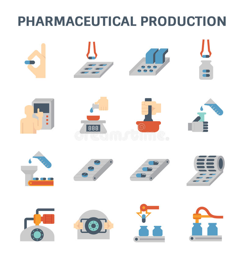 Pharmaceutical and manufacturing. Pharmaceutical production and manufacturing vector icon sets design vector illustration